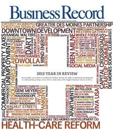 This year's cover is visual representation of the top Central Iowa business stories and people of 2012. It's made up of about 150 actual names, businesses, trends and topics that fill the pages of our 2012 Year in Review Issue. To make the image, we took the text from each of the stories, stripped out all the common words, and ran it through a word cloud generating program at www.wordle.net.